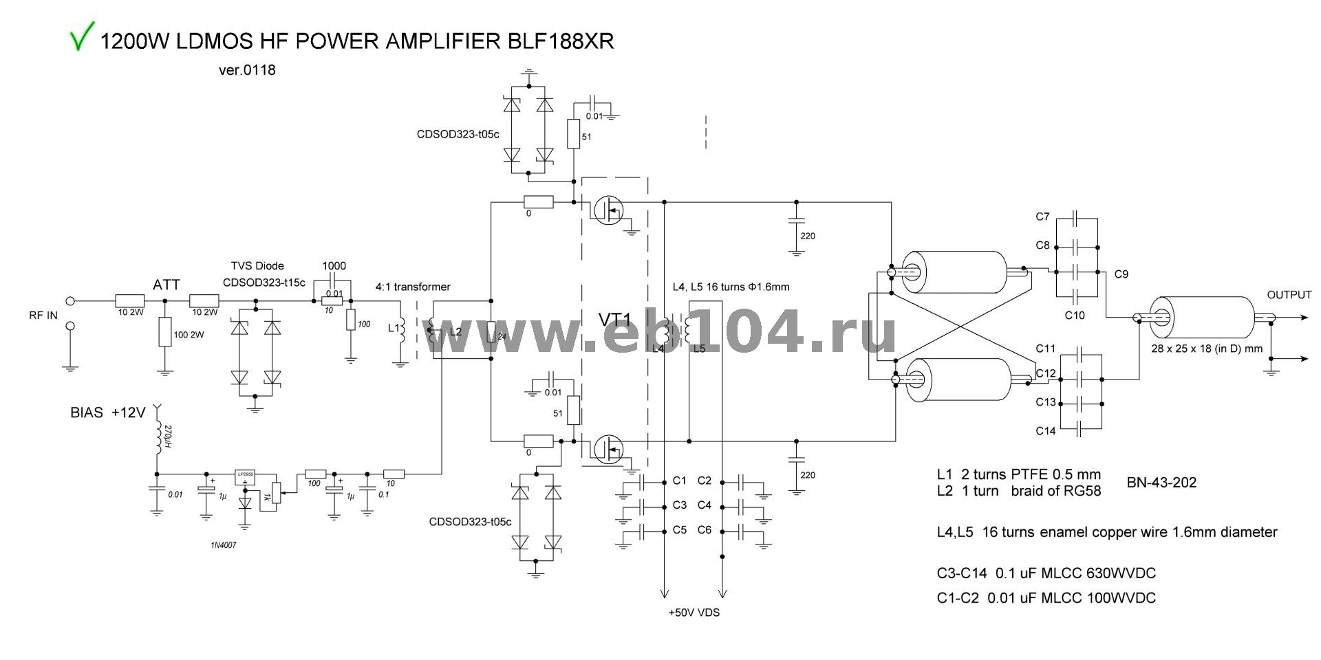 HF POWER AMPLIFIER LDMOS TRASISTOR 1000/1200/2400W OUTPUT