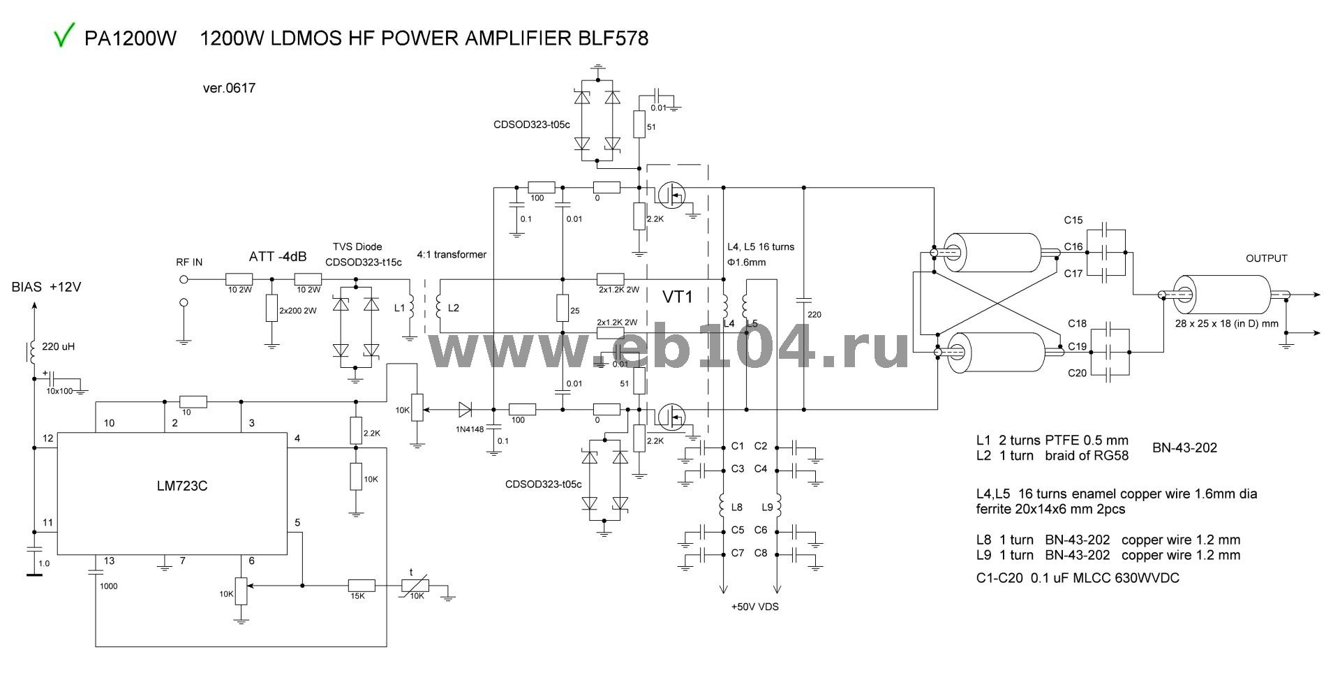 Hf Power Amplifier Ldmos Trasistor 1000 1200 2400w Output 50 W Transistor 12 Kw Board Assembled 18 54mhz The Consists Of Two Parts And May Accept Different Types Transistorsblf578